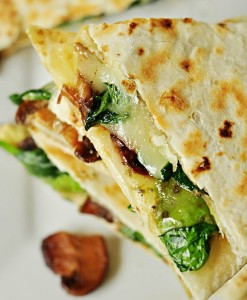 CQ-Spinach and Mushroom Quesadillas with Avocado and Pepper Jack Cheese